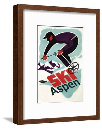 Ski in Colorado Vintage Skier - Aspen, Colorado-Lantern Press-Framed Premium Giclee Print