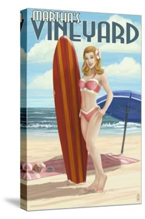 Martha's Vineyard, Massachusetts - Pinup Girl Surfer-Lantern Press-Stretched Canvas Print