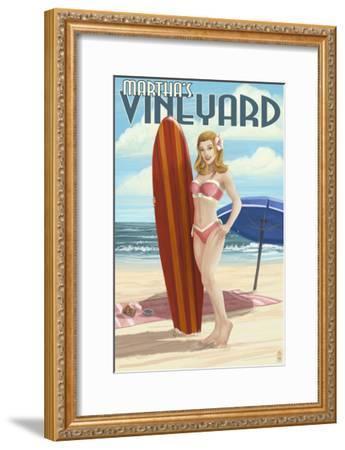 Martha's Vineyard, Massachusetts - Pinup Girl Surfer-Lantern Press-Framed Art Print