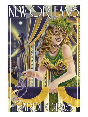 Mardi Gras - New Orleans, Louisiana-Lantern Press-Framed Art Print