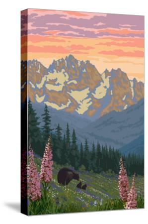 Spring Flowers and Bear Family Mountains-Lantern Press-Stretched Canvas Print