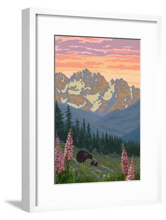 Spring Flowers and Bear Family Mountains-Lantern Press-Framed Art Print
