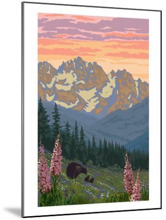 Spring Flowers and Bear Family Mountains-Lantern Press-Mounted Art Print