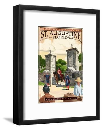 St. Augustine, Florida - City Gates-Lantern Press-Framed Art Print
