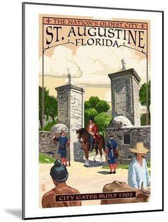St. Augustine, Florida - City Gates-Lantern Press-Mounted Art Print