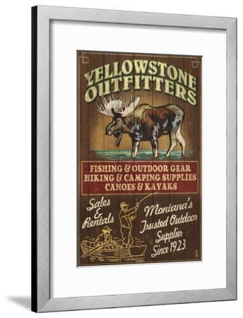 Yellowstone National Park - Moose Outfitters-Lantern Press-Framed Art Print