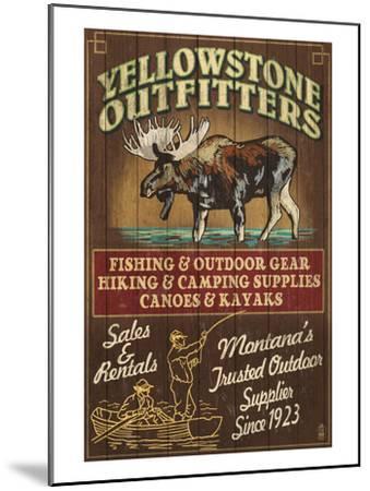 Yellowstone National Park - Moose Outfitters-Lantern Press-Mounted Art Print