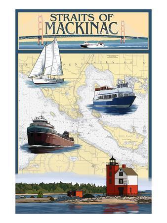 Straits of Mackinac, Michigan - Nautical Chart-Lantern Press-Framed Art Print