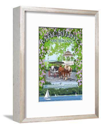 Mackinac, Michigan - Montage Scenes-Lantern Press-Framed Art Print