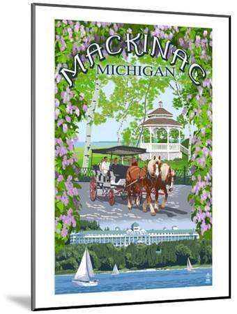 Mackinac, Michigan - Montage Scenes-Lantern Press-Mounted Art Print