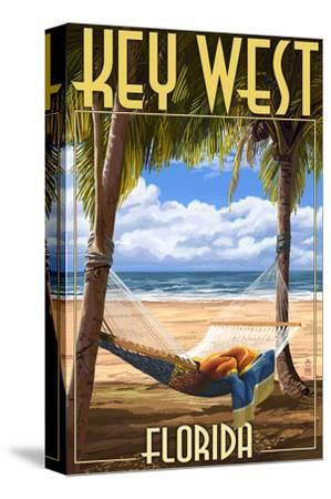 Key West, Florida - Hammock Scene-Lantern Press-Stretched Canvas Print