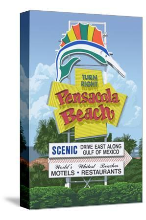 Pensacola Beach, Florida-Lantern Press-Stretched Canvas Print