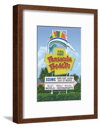 Pensacola Beach, Florida-Lantern Press-Framed Art Print