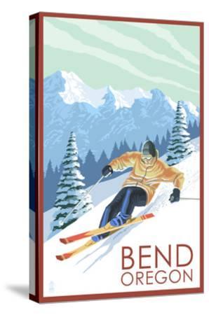Downhhill Snow Skier - Bend, Oregon-Lantern Press-Stretched Canvas Print