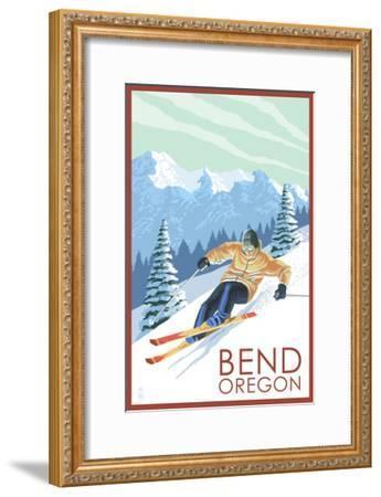 Downhhill Snow Skier - Bend, Oregon-Lantern Press-Framed Art Print