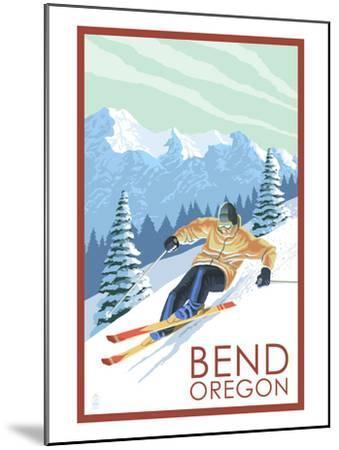 Downhhill Snow Skier - Bend, Oregon-Lantern Press-Mounted Art Print