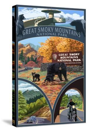 Montage - Great Smoky Mountains National Park, TN-Lantern Press-Stretched Canvas Print