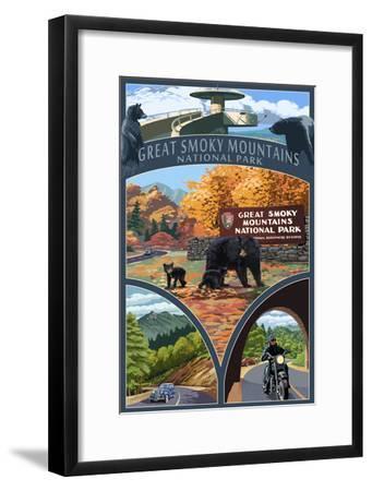 Montage - Great Smoky Mountains National Park, TN-Lantern Press-Framed Art Print