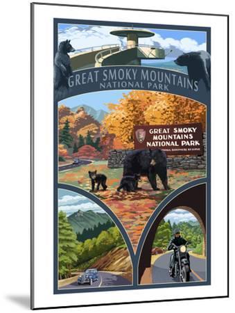 Montage - Great Smoky Mountains National Park, TN-Lantern Press-Mounted Art Print