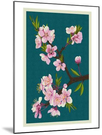 Cherry Blossoms-Lantern Press-Mounted Art Print