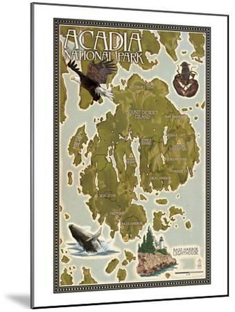 Acadia National Park, Maine - Map-Lantern Press-Mounted Art Print