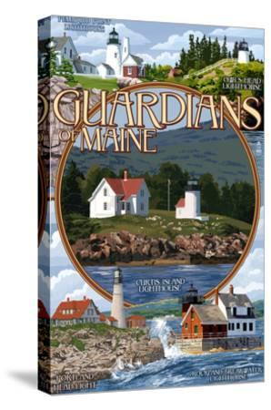 Guardians of Maine - Curtis Island Center-Lantern Press-Stretched Canvas Print