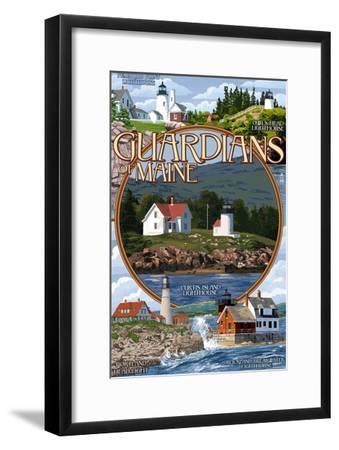 Guardians of Maine - Curtis Island Center-Lantern Press-Framed Art Print
