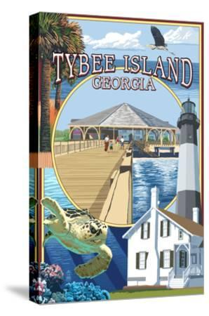 Tybee Island, Georgia - Montage-Lantern Press-Stretched Canvas Print
