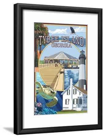 Tybee Island, Georgia - Montage-Lantern Press-Framed Art Print