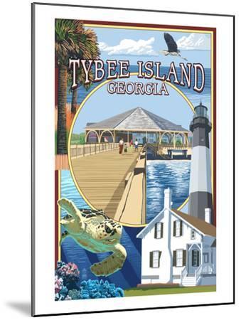 Tybee Island, Georgia - Montage-Lantern Press-Mounted Art Print
