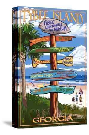 Tybee Island, Georgia - Destination Signs-Lantern Press-Stretched Canvas Print