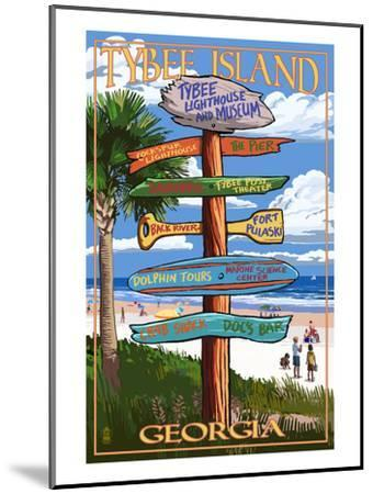 Tybee Island, Georgia - Destination Signs-Lantern Press-Mounted Art Print