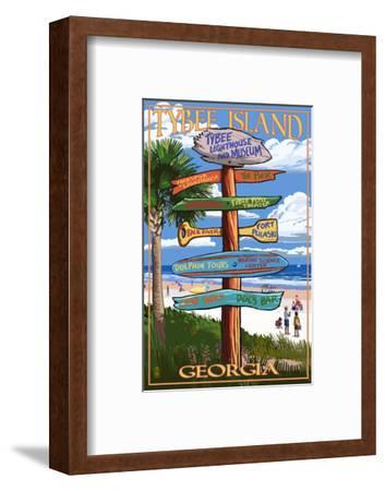 Tybee Island, Georgia - Destination Signs-Lantern Press-Framed Art Print