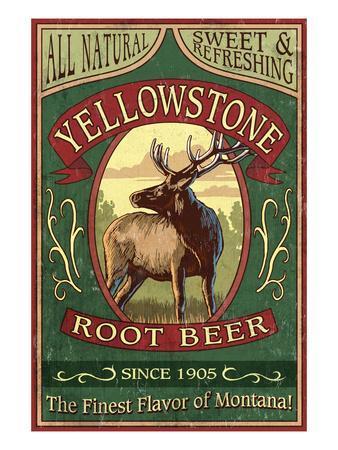 Yellowstone National Park - Elk Root Beer-Lantern Press-Framed Art Print