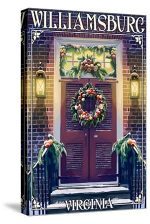 Williamsburg, Virginia - Christmas Door-Lantern Press-Stretched Canvas Print