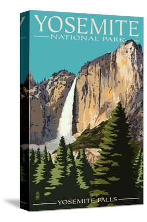 Yosemite Falls - Yosemite National Park, California-Lantern Press-Stretched Canvas Print