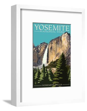 Yosemite Falls - Yosemite National Park, California-Lantern Press-Framed Premium Giclee Print