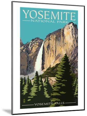 Yosemite Falls - Yosemite National Park, California-Lantern Press-Mounted Premium Giclee Print