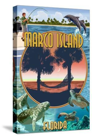Marco Island, Florida - Montage Scenes-Lantern Press-Stretched Canvas Print