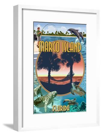 Marco Island, Florida - Montage Scenes-Lantern Press-Framed Art Print