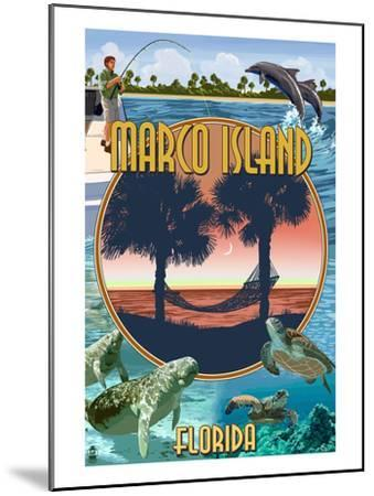 Marco Island, Florida - Montage Scenes-Lantern Press-Mounted Art Print