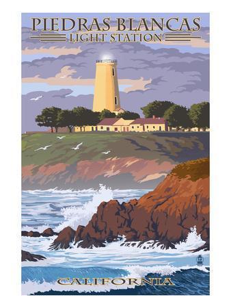 Piedras Blancas Light Station - California-Lantern Press-Framed Art Print