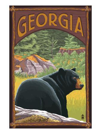 Georgia - Black Bear in Forest-Lantern Press-Framed Art Print