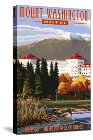 Mount Washington Hotel in Fall - Bretton Woods, New Hampshire-Lantern Press-Stretched Canvas Print