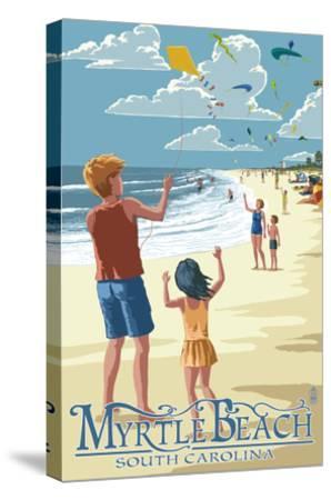 Kite Flyers - Myrtle Beach, South Carolina-Lantern Press-Stretched Canvas Print
