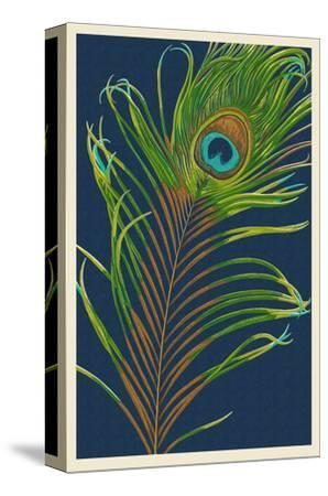 Peacock Feather-Lantern Press-Stretched Canvas Print