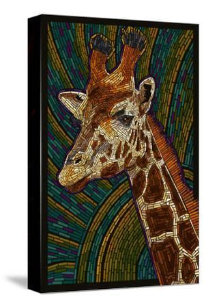 Giraffe - Paper Mosaic-Lantern Press-Stretched Canvas Print