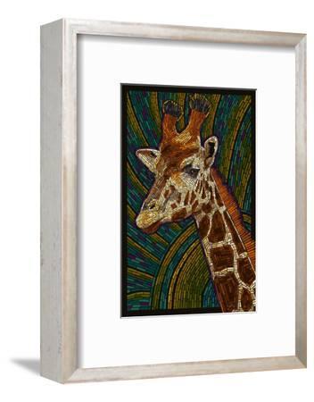 Giraffe - Paper Mosaic-Lantern Press-Framed Art Print