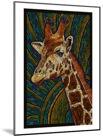 Giraffe - Paper Mosaic-Lantern Press-Mounted Art Print