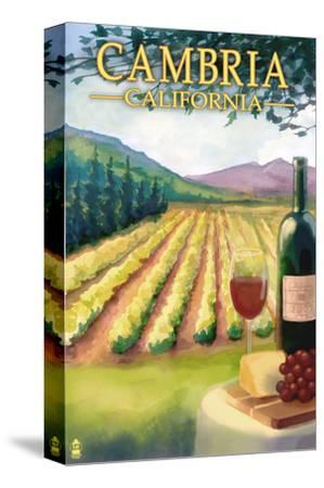 Cambria, California - Wine Country-Lantern Press-Stretched Canvas Print